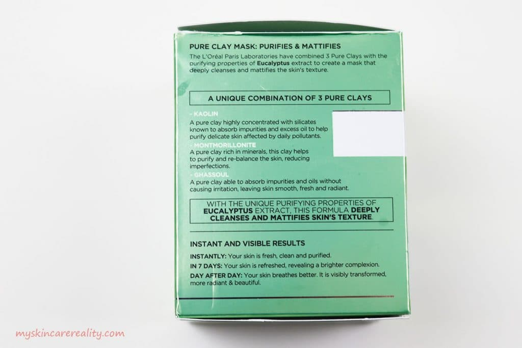 LOreal Pure Clay Mask Purifying - Mattifying Eucalyptus Mask Review Box Side