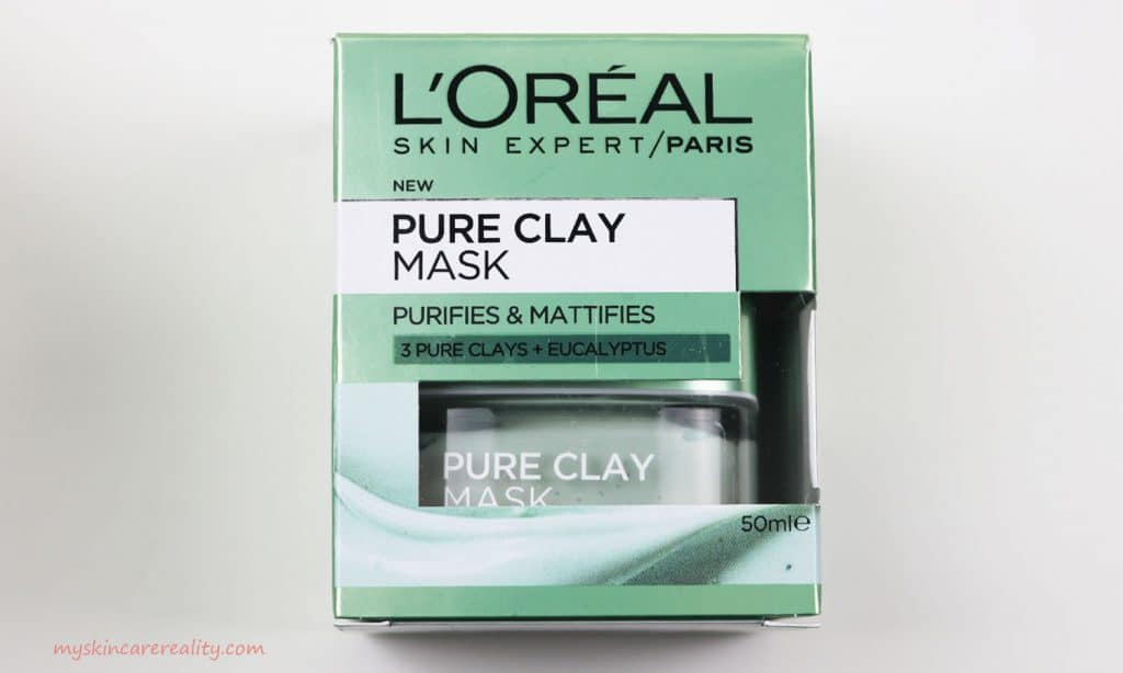 LOreal Pure Clay Mask Purifying - Mattifying Eucalyptus Mask Review Front of Box