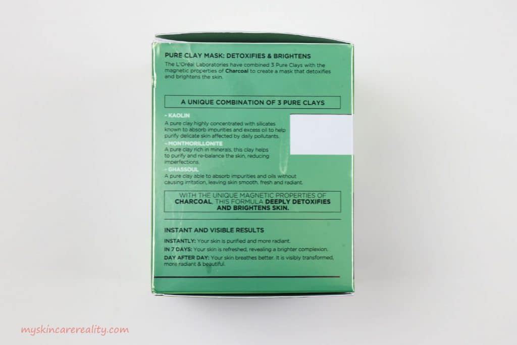 Pure Clay Mask Detoxifying - Brightening Charcoal Mask Review Box Side