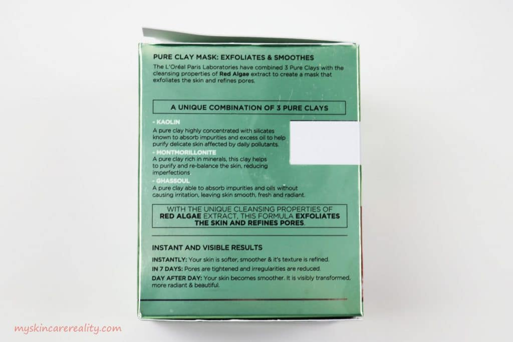 Pure Clay Mask Exfoliating - Smoothing Red Algae Mask Review Side of Box 2