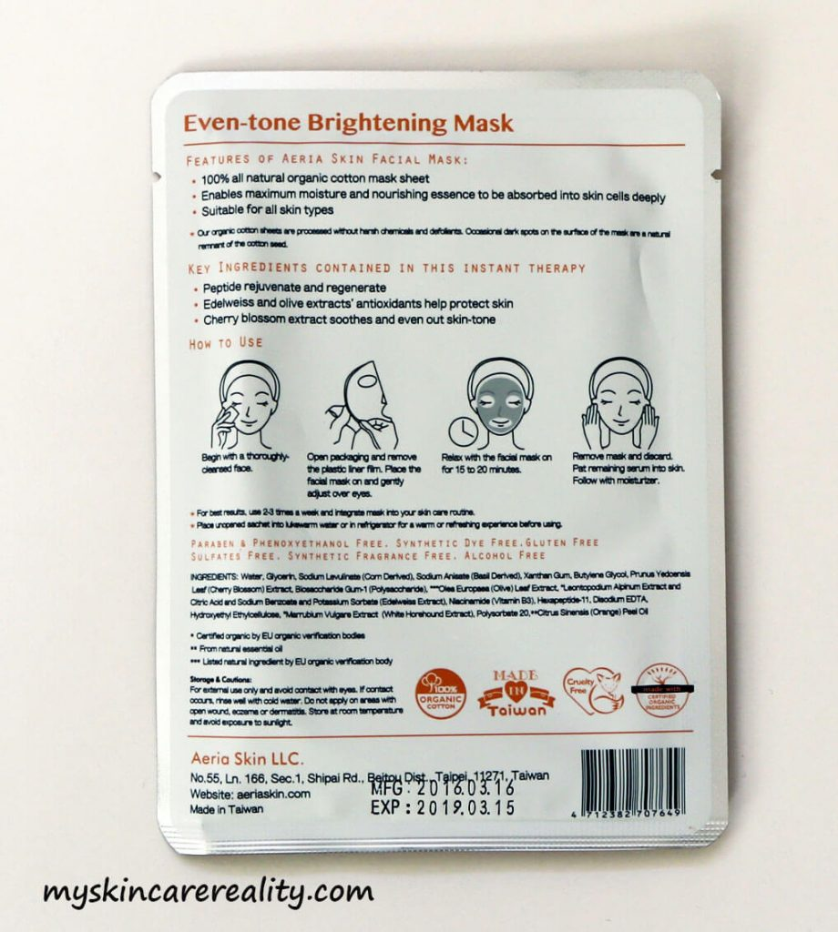 Aeria Skin Even-tone Brightening Mask Review 2.5 Zoomed In