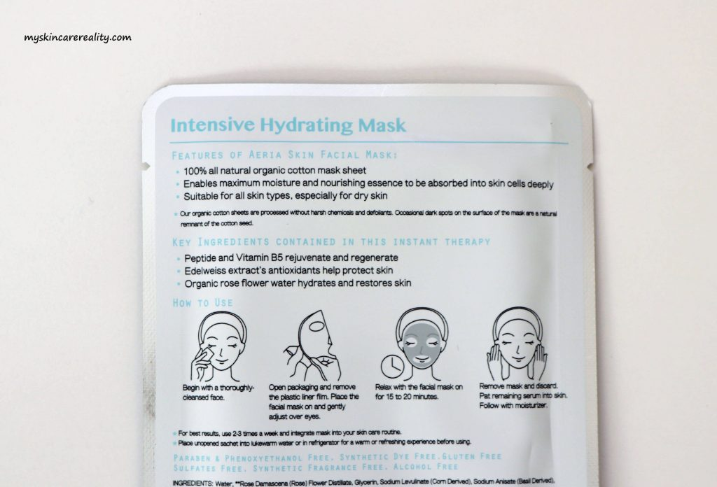 Aeria Skin Intensive Hydrating Mask Review 3